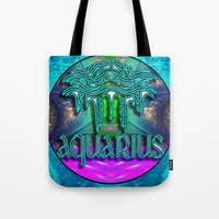 zodiac Tote Bags featuring Aquarius Zodiac by CAP Artwork & Design