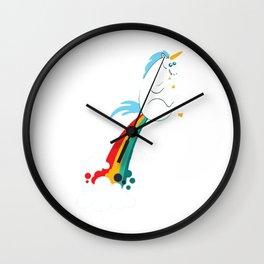 funny unicorn rainbow fart Wall Clock