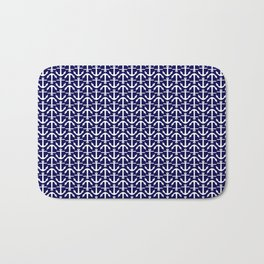 Maritime Nautical Blue and White Small Anchor Pattern Bath Mat