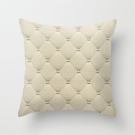 Cream Quilted Throw Pillow