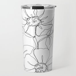 Floral one line drawing - Rose Travel Mug