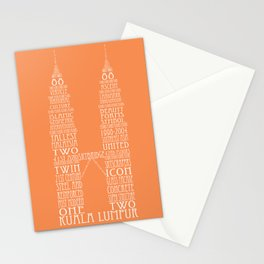 'Wordy Structures' Petronas Towers (orange) Stationery Cards