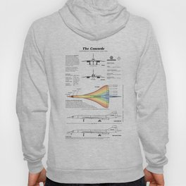 Concorde Supersonic Airliner Blueprint (white) Hoody