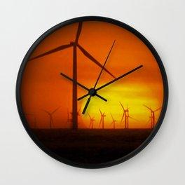 Windmills at Sunset (Digital Art) Wall Clock