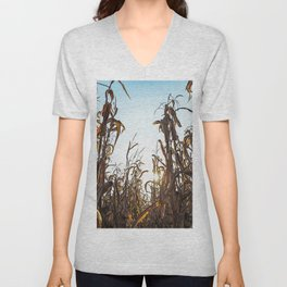 Corn field at sunset in the countryside of Lomellina Unisex V-Neck