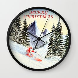 Merry Christmas with Skiing Santa Wall Clock