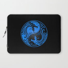 Blue and Black Yin Yang Dragons Laptop Sleeve