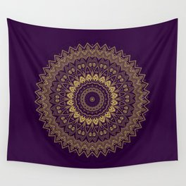 Harmony Circle of Gold on Purple Wall Tapestry