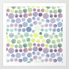 Dots purple and green Art Print