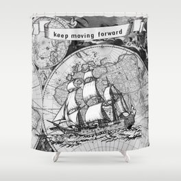 Ship and Map .  Home Decor for Him and Her Shower Curtain