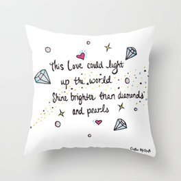 Love Watercolor Lyric Drawing Throw Pillow