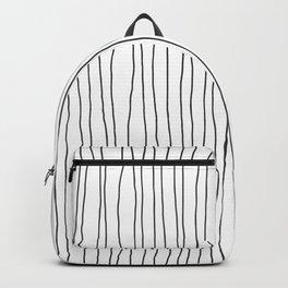 Hand Drawn Lines Vertical White Dark Gray Backpack