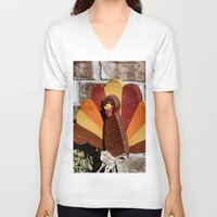 turkey V-neck T-shirts featuring Turkey Day by IowaShots