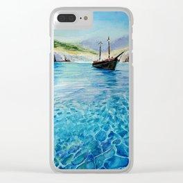 Shinning Ocean - Watercolor Landscape Art Clear iPhone Case
