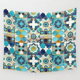 Spanish moroccan tiles inspiration // turquoise blue golden lines Wall Tapestry
