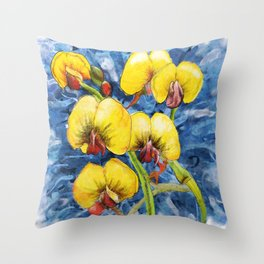 Bacon & Eggs Abstract Flower Painting Throw Pillow