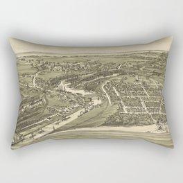 Vintage Pictorial Map of Ashtabula OH (1896) Rectangular Pillow