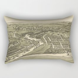 Vintage Pictorial Map of Ashtabula OH (1896) Rectangular Pillow