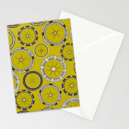 bike wheels chartreuse Stationery Cards