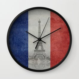 Flag of France with Eiffel Tower Wall Clock