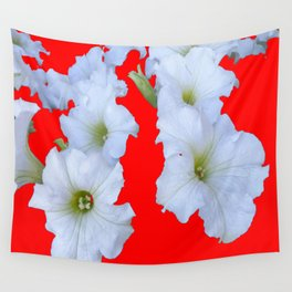 White Garden Petunia Flowers On  red Art Wall Tapestry