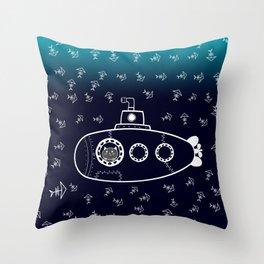 Cat in Submarine Throw Pillow