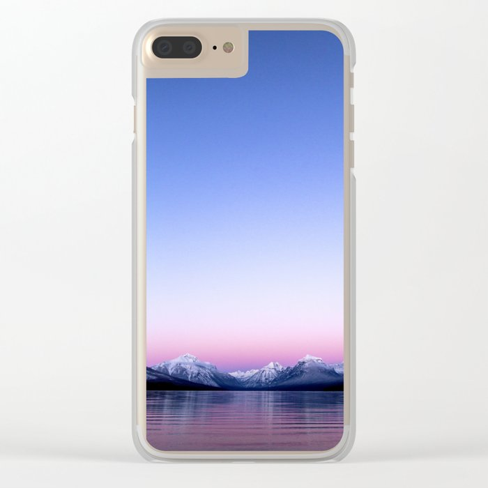 pastel mountain lake sunset Clear iPhone Case