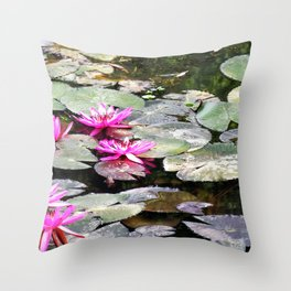 Water Lilies Pond Flowers Throw Pillow