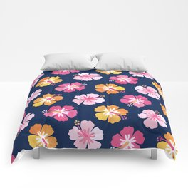 CANDY COLORED HIBISCUS on NAVY Comforters