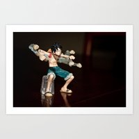 luffy Art Prints featuring Luffy boxing by Michaëlis Moshe