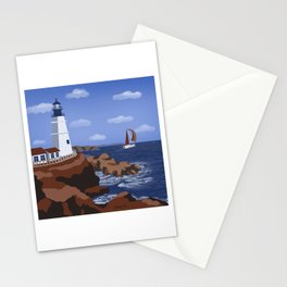 Lighthouse 4 - nautical minimal artwork Stationery Cards