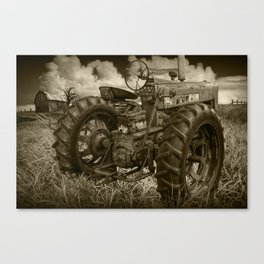 Abandoned Old Farmall Tractor in Sepia Tone Canvas Print