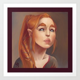 Redhead Elf Portrait Art Print