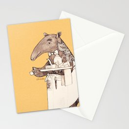 Tea time starts now - Malayan Tapir - Yellow Stationery Cards