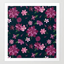 Burgundy Blush Floral Pattern Art Print