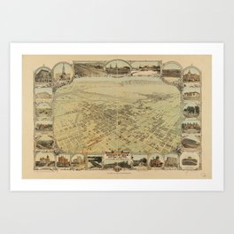 Vintage Bird's Eye Map Illustration - Bakersfield, Kern County, California (1901) Art Print
