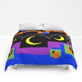 Hopping Over Crescent Moons Comforters