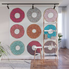 Colourful, illustrated, glazed, sprinkle Donut pattern Wall Mural