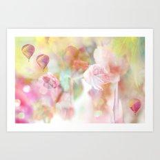 Dreamy Pastel Pink Yellow Shabby Chic Pink Tulips Art Print