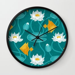 Tangram goldfish and water lillies Wall Clock
