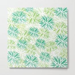Pom Floral Green Metal Print