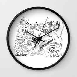 Oregon - Hand Lettered Map Wall Clock
