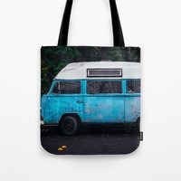 vw bus Tote Bags featuring Vintage VW Bus Rusted  by Limitless Design