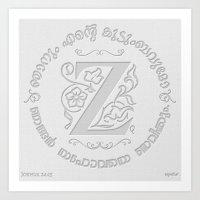 Joshua 24:15 - (Letterpress) Monogram Z Art Print