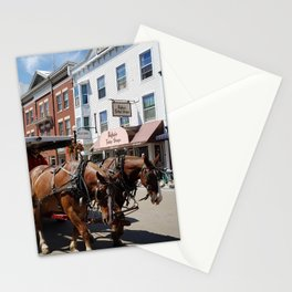 Horse and Carriage in Historic Downtown Mackinac Island, Michigan Stationery Cards