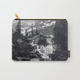 A stepped waterfall with Mount Temple and Mount Hungabee behind, Paradise Valley Carry-All Pouch