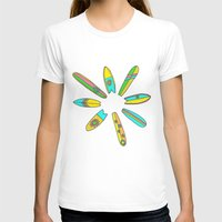 surfboard T-shirts featuring Retro Surfboard Flower Power by Surfy Birdy