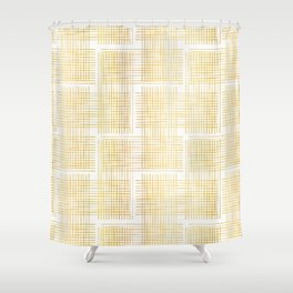 Luxe Gold Criss Cross Weave Hand Drawn Vector Pattern Background Shower Curtain