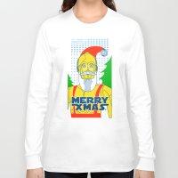 c3po Long Sleeve T-shirts featuring Santa C3PO by Xenia Pirovskikh