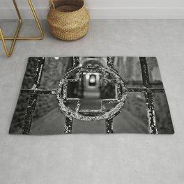 Prison Medical Ward Gate Cross - Black & White Rug